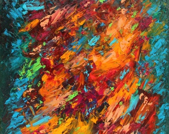 """Abstract oil on canvas painting. """"Cocoon"""" colorful Tableau knife. original contemporary art. home decor"""
