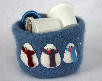 blue wool felted bowl with snowman family trio