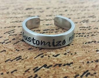 """Custom Personalized 1/4"""" Aluminum Adjustable Ring - Hand Stamped"""