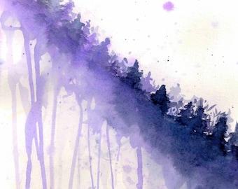 Giclee fine art print, Purple Pines, original watercolor print, optional frame, free shipping