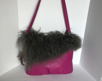 Leather Handbag with Sheepskin Trim