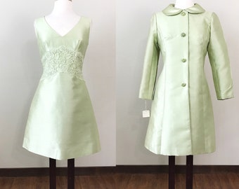 RESERVED /Vintage 1960s Dress / Matching jacket / New Old Stock / Mint green / Lace / Rhinestones