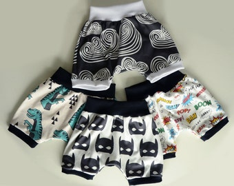 Premium ORGANIC Cotton Infant/Toddler Harem Shorts with Waistband and Leg Cuffs