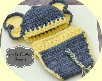 Neutral Baby Gift, Yellow Gray Elephant Baby Costume, Crochet Elephant Baby Hat and Diaper Cover Set, Unique Baby Shower Gift, Gender Reveal