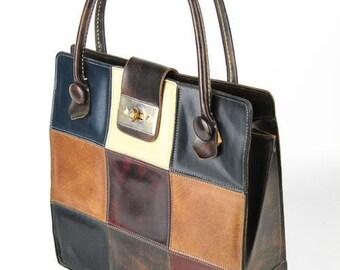 Vintage Mahler California Large Vinyl Patchwork Tote Bag Shoulder Bag Handbag Purse Fantastic Condition