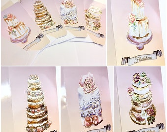 Say it With a Cake - Set of 4 cards with enveloppe, Folded card, Foiled details, Shimmery enveloppe