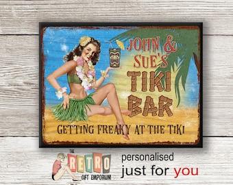 Tiki Bar Sign, metal wall plaque, retro style, custom bar sign, Personalised Tiki, Personalised Gift, Tropical Bar Sign,BBQ Sign, Beach Bar