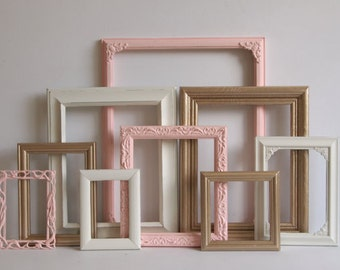 Rose Pink And Gold Picture Frames Set - Shabby Chic - Baby Girl Nursery - Wedding - Vintage Ornate Collection - Distressed - Gallery Wall