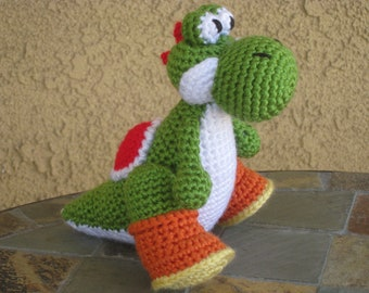CROCHET PATTERN - Yoshi Plush Amigurumi Figurine Doll Stuffed Animal Toy Super Mario Brothers Bros Children Boy Girl Geekery tutorial PDF