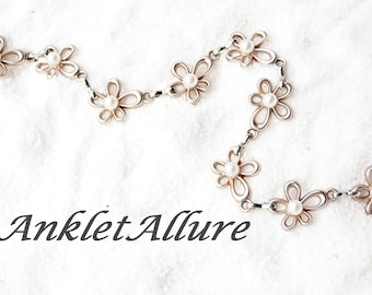 Ankle Bracelet Anklet Rose Gold Anklet Beach Anklet Flower Anklet GUARANTEED
