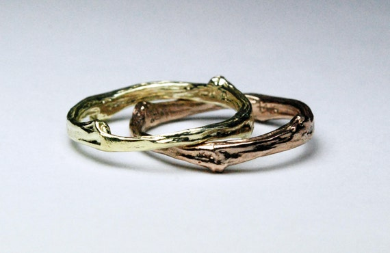Tompkins Square Park Gold Twig Ring -closed circle-14k green or brown gold option