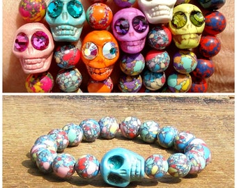 Turquoise Skull Bracelet choose plain or Swarovski crystal eyes rocker girl glam chic edgy yellow pink mint green coral stacking Gasparilla
