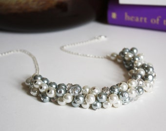 Gray Bridesmaid Necklace Gray Necklace Bridesmaid Gift Cluster Necklace Chunky Necklace Wedding Jewelry Maid of Honor Gift for Mothers