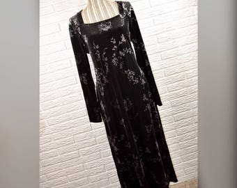 Vtg 90s Kathie Lee Black Grey Silver Floral Velvet Maxi Dress Sz L