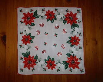 Vintage Christmas Poinsettia Hankie - Vintage Green Red X-mas Poinsettias Red Ribbons Holiday Hankie - Vintage Christmas Holidays Linen