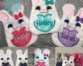 Personalized bunny / Monogrammed Bunny with bow / Embroidered Bunny / Stuffed Bunny with name or monogram / Easter Bunny