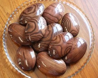 "10 Glossy ""Mahogany"" Stained Sumac Wooden River Stones"