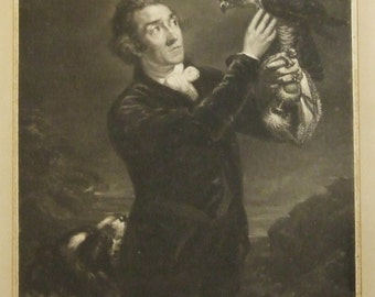 Antique mezzotint print The Falconer S. W. Reynolds after James Northcote 1797 Worldwide freight Holiday art gift