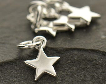Sterling Silver, Tiny Star, Star Charm, Tiny Charm, Silver Star Charm, Silver Tiny Star, Bronze Star Charm, Gold Star Charm, Astrological
