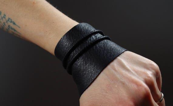 Twisted Leather Cuff Bracelet - Leather Cuff Bracelet - Black Leather Cuff - Black Leather Bracelet - Leather Black Cuff