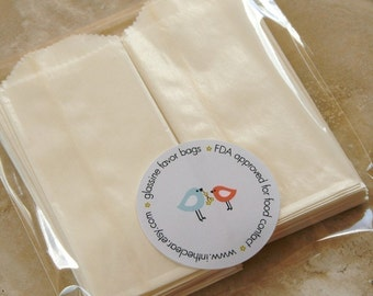 QTY 100 Extra Small Flat Glassine Bags - Business Card Size - Favors, Treats, FDA Approved for Food Contact