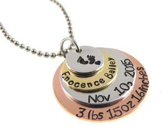 Custom Mother Necklace - Baby Feet Necklace - Birth Baby Mother Gift - Hand Stamped Necklace - Expressions Bracelets - Hand Stamped Jewelry