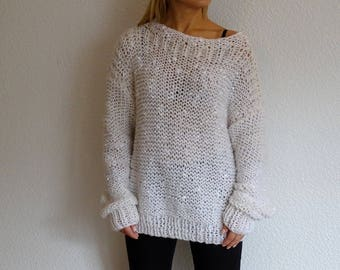 knit bulky sweater, slouchy sweater, loose knit sweater, bulky pullover, knit pullover, womens sweater, cozy knitwear, white, ready to ship