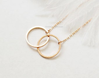Double Circle Necklace in rose gold, Eternity necklace, infinity necklace, love necklace/ dainty, birthday, wedding, bridesmaid jewelry