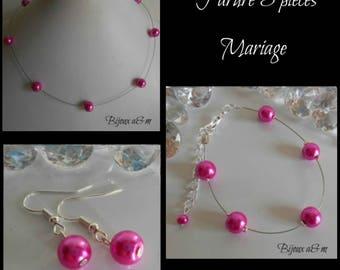 Set of 3 wedding pieces simplicity Fuchsia beads