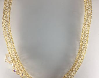 Gold necklace with Swarovski crystals hand crocheted from wire