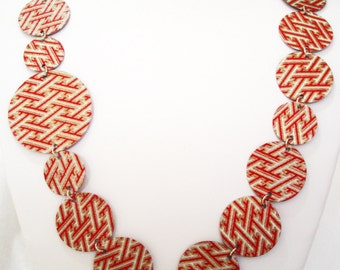 Geometric Tribal Origami, Red and Gold Statement Necklace