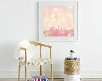 framed Los Angeles nursery wall art, LA photograph, pink baby girls room decor, LA skyline photo, framed California print, Myan Soffia