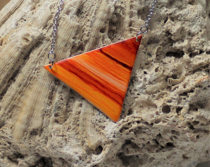 Featured listing image: Orange Striped Handpainted Triangle Necklace