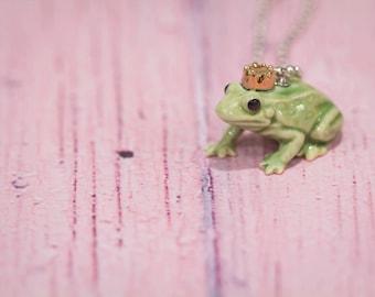 Frog Necklace - Frog Pendant Necklace - China Animal Necklace - Frog - Frog Jewelry - Frog Jewellery - Miniature China Animal - Frog Prince