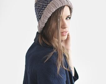 Fair Isle Beanie with Pom Pom, Hand Knit Hat in Lavender & Navy, Womens Winter Hat, Mens Knit Ski Hat, Unisex Bobble Hat