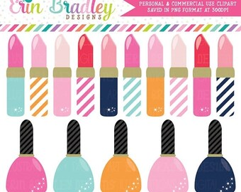 80% OFF SALE Lipstick and Nail Polish Clipart Girls Graphics Personal & Commercial Use Clip Art INSTANT Download