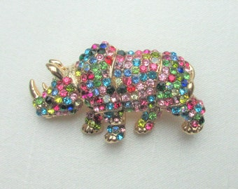 Multi Color Brooch,Crystal Rhinestone Rhino Brooch, Crystal Rhinestone Fashion Jewelry