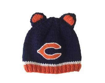 Chicago Bears knit hat - made to order - Bears knit hat - custom knit hat - custom Bears hat - custom Chicago Bears - Free shipping