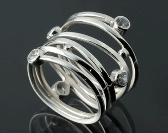 White Sapphire Sterling Silver Wrapped Ring