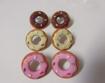 FREE SHIPPING! Donut Stud Earrings-Chocolate, Strawberry, Vanilla Donut Earrings