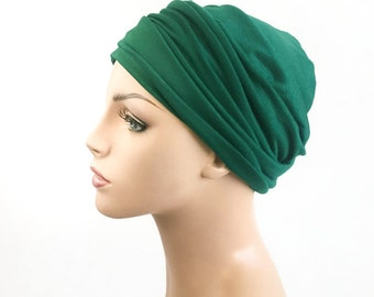 Turban Head Band, Yoga headband, Wide Headband, Exercise Headband, Pretied Turban, Emerald  Green 298-09a