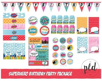 Superhero Combined Boy & Girl  Birthday Party Printable Package, Superhero Birthday, Superhero Party, Boy and Girl, Superhero