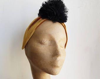 Gold and Black Pom Pom Headband