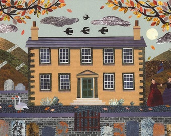 Brontë Sisters, Greeting Card, Autumn, English Literature, Collage, Naive, Art, Moon, Jane Eyre, Card for Booklovers, Wuthering Heights