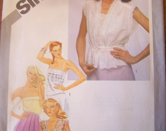 Simplicity 9971, Size 12, misses  pullover camisoles and unlined jackets, UNCUT sewing pattern