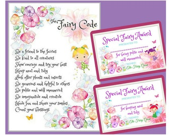 Fairy Code, Fairy Printables with Fairy Certificates to award for kind fairy behaviour