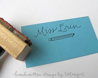 Handschriftliche Lehrer Namensstempel mit Bleistift-Abbildung