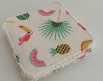 Washable cotton on the theme of the Islands and ivory Terry cloth