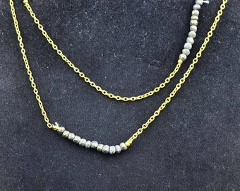 925 Sterling silver pyrite Big Lenth Necklace