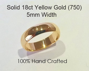 18ct 750 Solid Yellow Gold Ring Wedding Engagement Friendship Friend Half Round Band NEW 5mm
